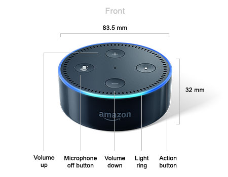 Front of the Amazon Echo Dot