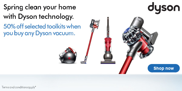 Save up to £180 on Dyson vacuum cleaners