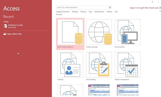 Microsoft Access Screenshot