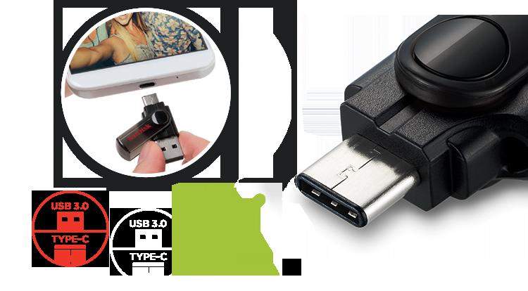 SanDisk Dual USB Drive close up